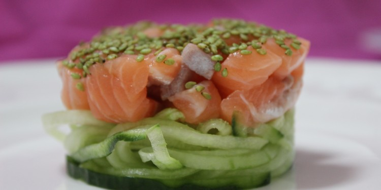 raw salmon with wasabi