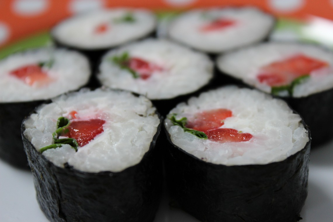 strawberry sushi with lactose free cream cheese foodless